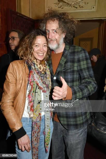 Painter Nathalie Pasqua and Technikart magazine publisher Fabrice de Rohan Chabot attend Jean Pierre Kalfon ad PIB band Concert at Theatre Dejazet on...