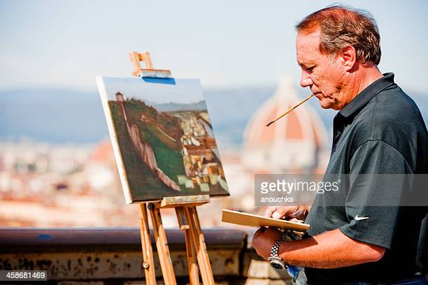 painter on piazzale michelangelo, firenze, italy - michelangelo artist stock pictures, royalty-free photos & images