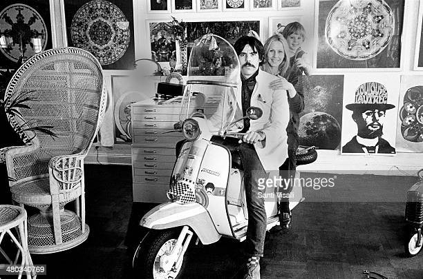 Painter Peter Max and family posing for a photo on October 10 1967 in New York New York