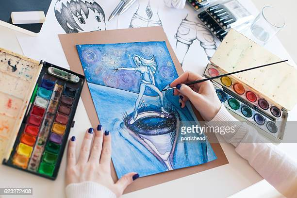 painter - anime stock photos and pictures