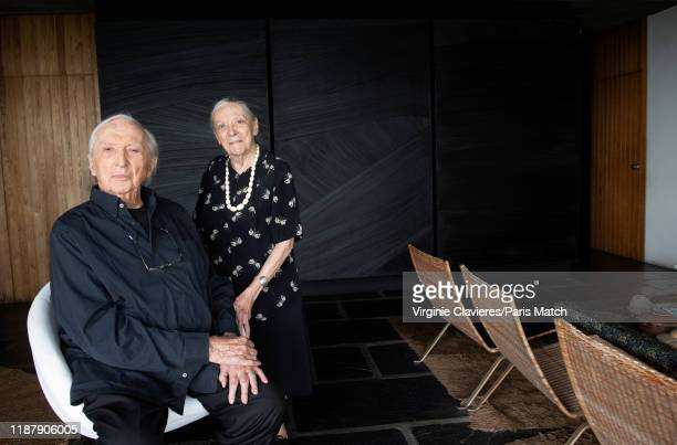 Painter Pierre Soulages is photographed with his wife Colette for Paris Match in his studio on September 11 2019 in Sete France
