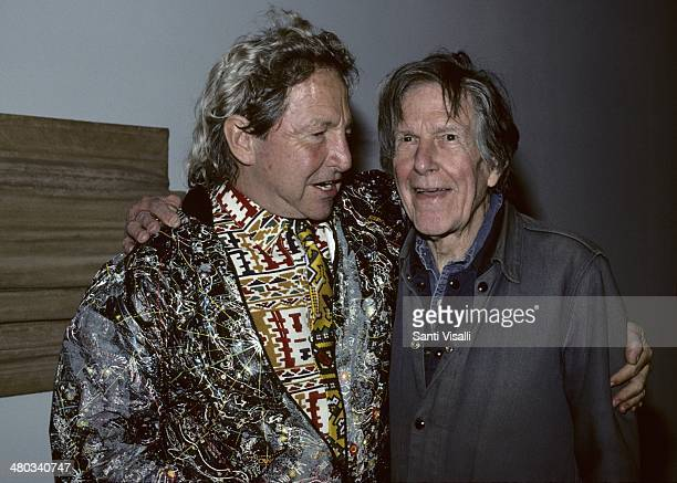 Painter Robert Rauschenberg and Composer John Cage posing for a photo on September 5 1990 in New York New York