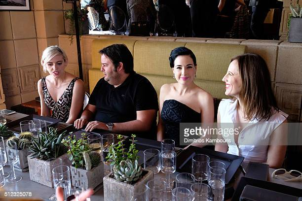 Painter Rosson Crow Marshall Haymen dancer/model Dita Von Teese and filmmaker/writer Liz Goldwyn attend the MAC Cosmetics Zac Posen luncheon at the...