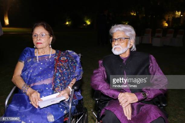 Painter Satish Gujral with his wife Kiran Gujral during the fundraiser for Lepra India Trust at the residence of the British High Commissioner Sir...