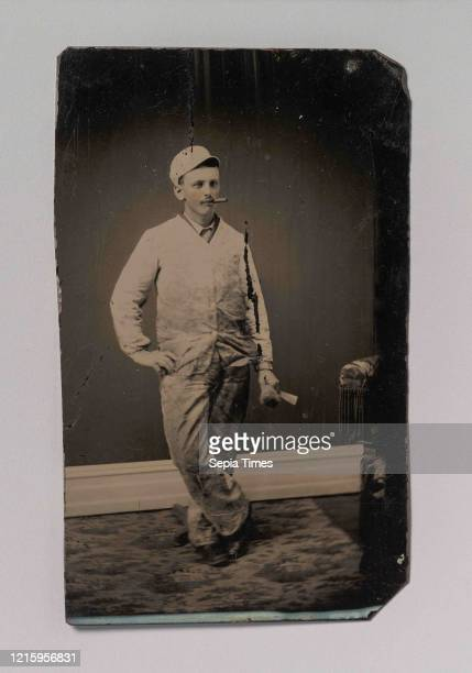 Painter, Smoking a Cigar, Holding a Brush and Scraper, 1870s-80s, Tintype, Image: 10.4 x 6.2 cm , Photographs, Unknown .