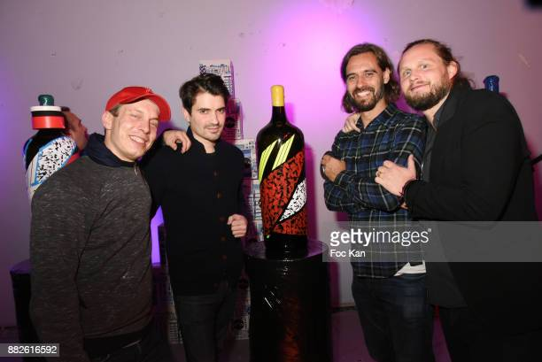 Painter Sowat Hugo de Loisy painter Lek and Guilhem de Castelbajac attend Nektart Wine Party at Palais de Tokyo Art Club on November 29 2017 in Paris...