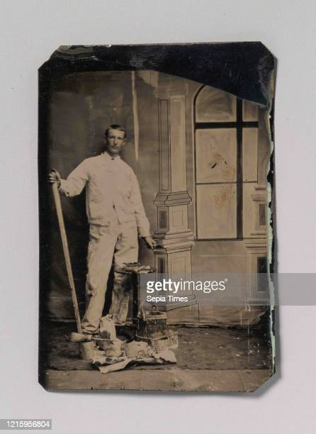 Painter, Standing in Front of a Painted Window Backdrop, with Brushes, Bucket, and Paint Cans, 1870s-80s, Tintype, Image: 7.8 x 5.6 cm , Photographs,...