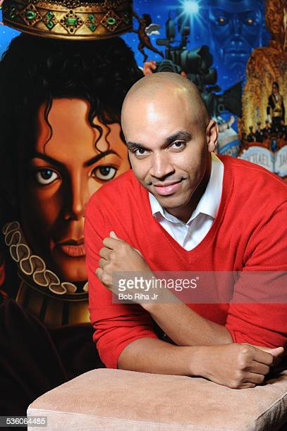 Painter/illustrator Kadir Nelson with the painting of Michael Jackson done by Nelson December 8 2010 in Los Angeles California