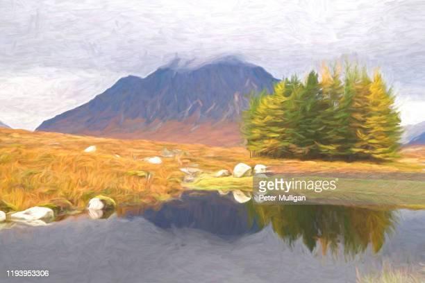 painterly image of buachaille etive mòr, glen coe, scotland, u.k. - impressionism stock pictures, royalty-free photos & images