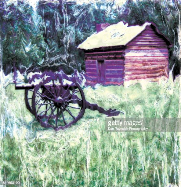 painterly photo image of cannon and cabin - transferbild stock-fotos und bilder