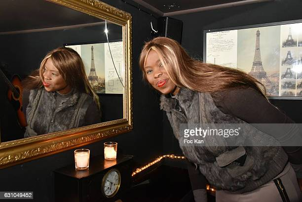 Painter/model/singer Ndeye Mbaye attends the 'Nuit Bruce Nauman' screening party and performance of Amelie Pironneau at la Galerie du Chacha on...