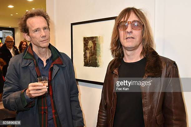 Painter/musician/singer Pierre Emery from Ultra Orange band and photographer Mark Lyon attend the 'As Hard' Pierre Emery Paintings /Collages...