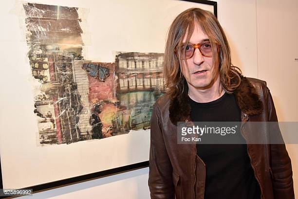 Painter/musician/singer Pierre Emery from Ultra Orange band attends the 'As Hard' Pierre Emery Paintings /Collages Exhibition at Galerie...