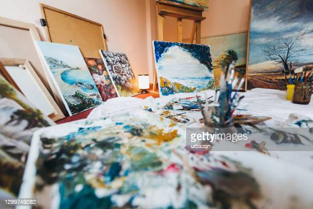 painters atelier - tempera painting stock pictures, royalty-free photos & images