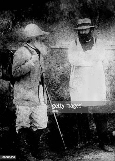 painters Camille Pissarro and Paul Cezanne c 1875 probably in Pontoise at Pissarro's