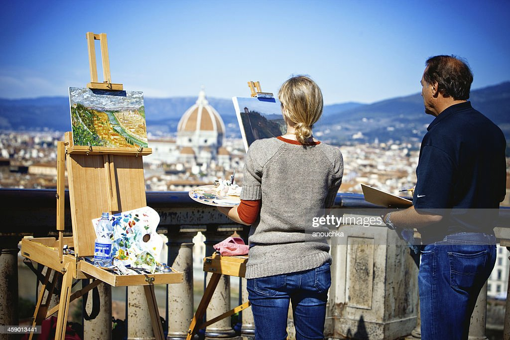 Painters on Piazzale Michelangelo, Firenze, Italy : Stock Photo