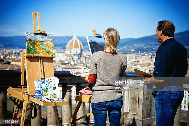 painters on piazzale michelangelo, firenze, italy - michelangelo artist stock pictures, royalty-free photos & images