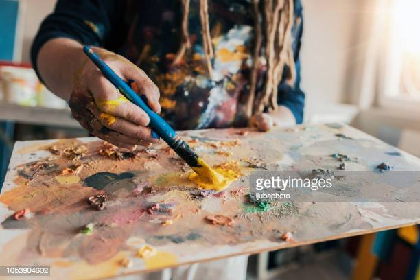 painter's palette - design occupation stock pictures, royalty-free photos & images