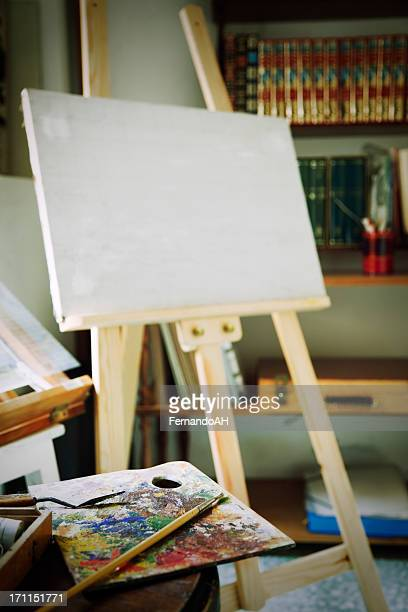 Painters studio with palette, brushes and canvas (XXXL)