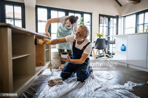 paintig an old furniture at home - diy stock pictures, royalty-free photos & images
