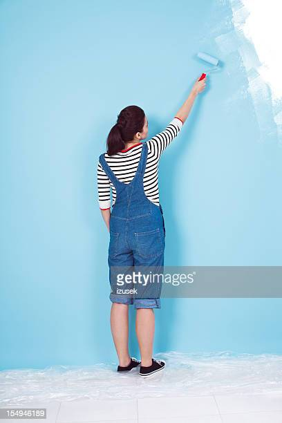 Painting a blue wall