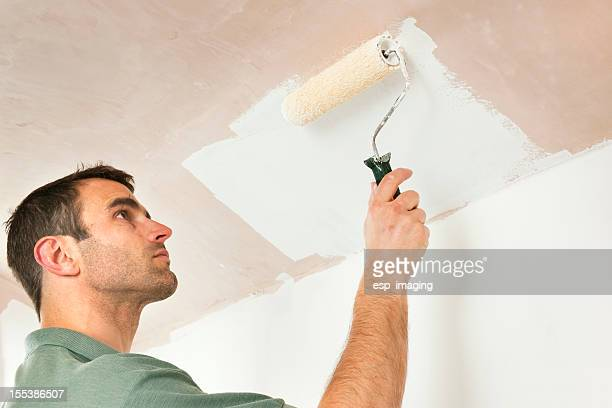 Painting a low ceiling by roller