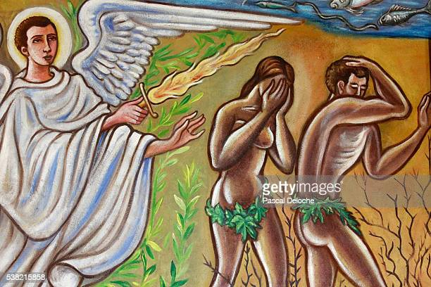 Painting. Adam and Eve sent away from the Eden Garden.