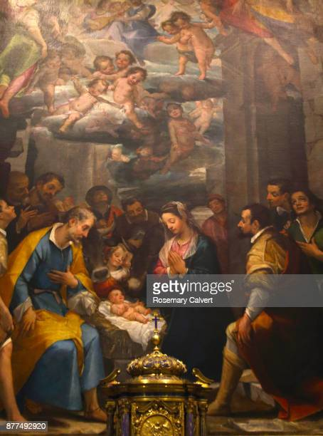 painting, adoration of the shepherds, siena cathedral. - san giuseppe foto e immagini stock