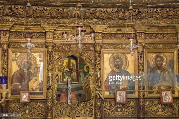 Painting and icons decorate the interior of the Ayios Nikolaos Cathedral