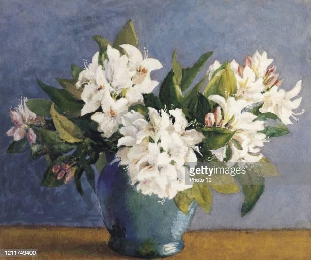 Painting Arthur Hacker English school Rhododendrons 19th century Datchet Marian John Alway