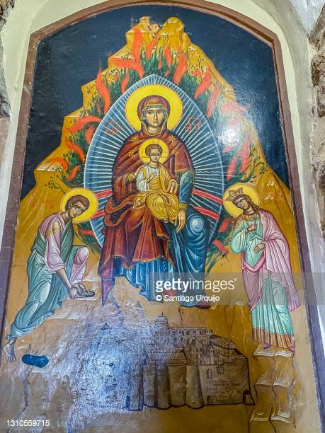 painting at saint catherine's monastery at mount sinai - tourism in south sinai stock pictures, royalty-free photos & images