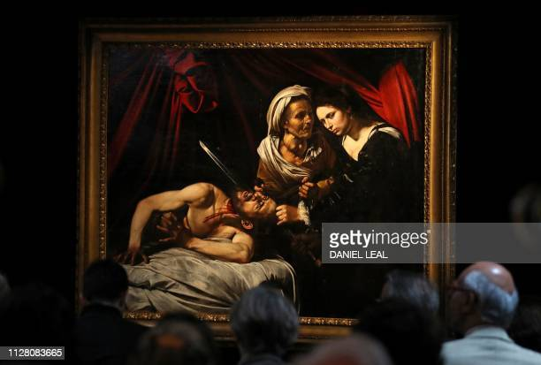 A painting believed to be the second version of Judith Beheading Holofernes by Italian artist Michelangelo Merisi da Caravaggio is picutred during a...