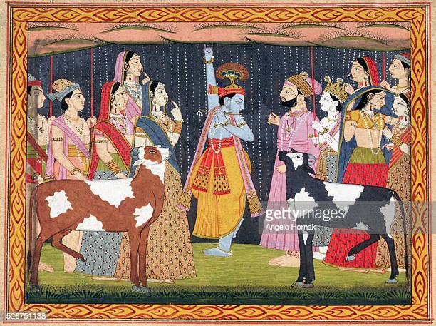 A 1794 painting by Bhagwan depicts Krishna lifting Mount Govardhana Measures 21 x 315 cm | Located in National Museum of India