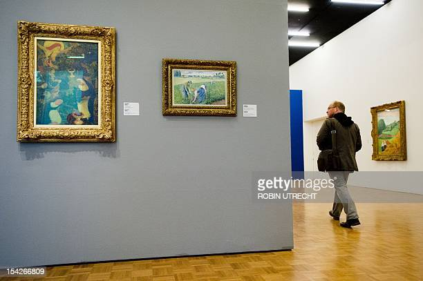 A painting by Camille Pissarro hangs in the Kunsthal museum in Rotterdam on October 17 2012 at the place where a Henri Matisse was stolen on October...
