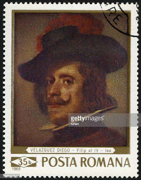 painting by diego velazquez, postage stamp of romania - 17th century stock pictures, royalty-free photos & images