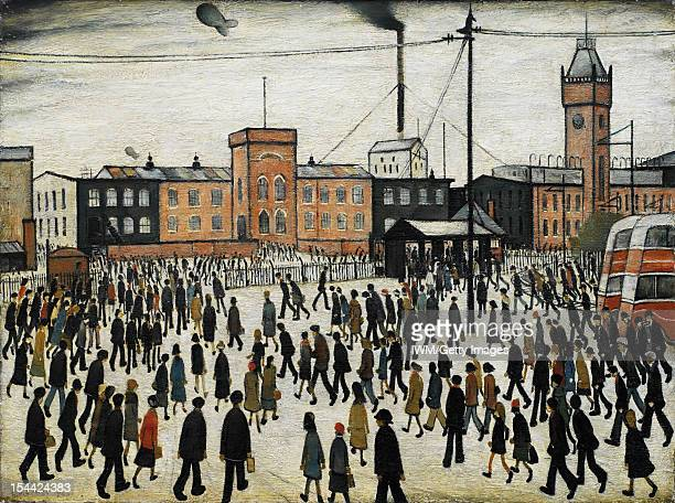 Painting by English artist LS Lowry entitled 'Going To Work', and depicting factory workers in the snow outside the main entrance to the Park Works...