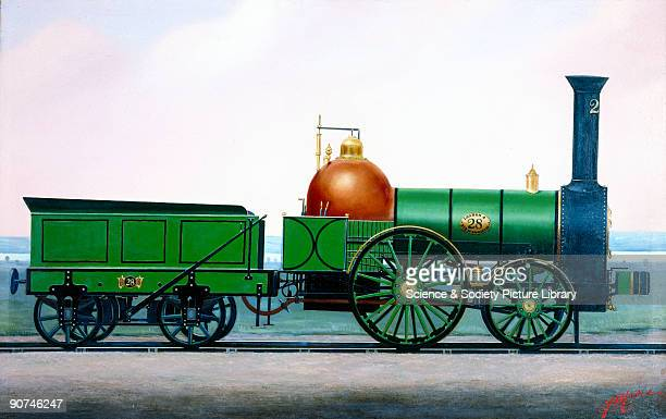 Painting by F Moore showing the locomotive on the tracks Robert Stephenson was appointed chief engineer of the construction of the London Birmingham...