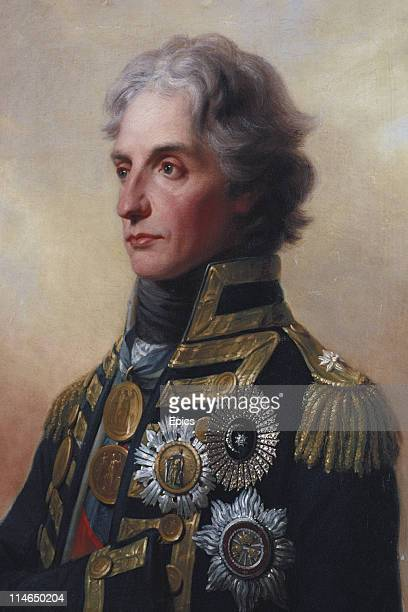 A painting by FH Fuger of Lord Horatio Nelson who died during his famous victory over the French and Spanish fleets off Cape Trafalgar on display in...