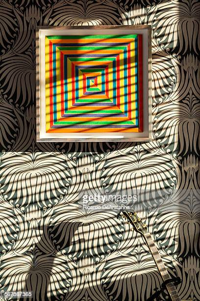 MONICA CA OCTOBER 29 2014 A painting by Frank Stella hangs in the master bedroom at Jerome Dahan's 1913 Mediterranean home in Santa Monica October 29...