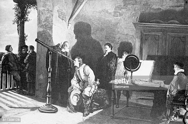 Painting by Gatti of Galileo Galilei at a Florentine Court Galileo lectures as a young man peers into a telescope and others watch in a darkened room