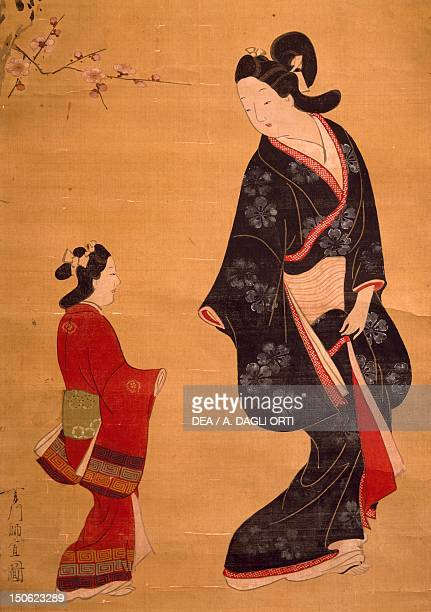 Painting by Hishikawa Moronobu Japan Detail Japanese Civilisation 17th century