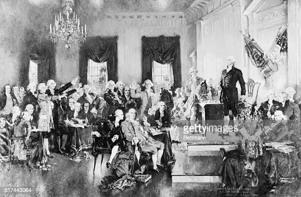 Painting by Howard Chandler Christie of George Washington presiding over the second Constitutional Convention in 1787 Washington stands at a desk...