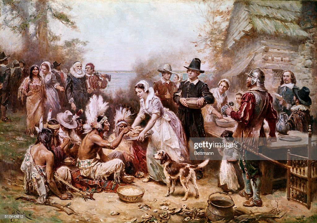 The First Thanksgiving by Jean Leon Gerome Ferris : News Photo