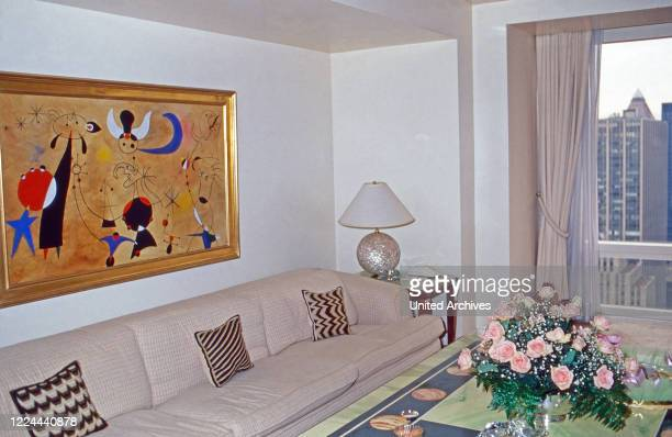 Painting by Joan Miro at the small white chamber of Adnan Khashoggi at the Olympic Tower in New York, USA 1986.