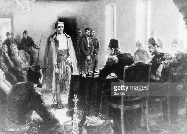 A painting by kalina tasseva depicting bulgarian revolutionary vasil levski in front of a tribunal of the ottoman empire he was one of the central...