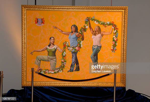 Painting by Kehinde Wiley during 2005 VH1 Hip Hop Honors - Pre-Party at Splashlight Studios in New York City, New York, United States.