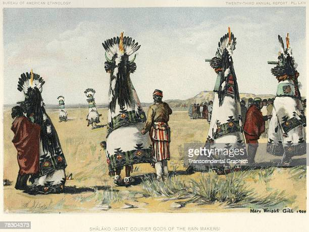 Painting by Mary Wright Gill depicts the Shalako ceremony of the Zuni tribe early 1900s The ceremony is held in part to give thanks for the previous...