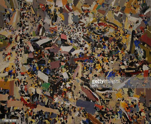 A painting by Mohamed Abla was inspired by the demonstrations in Tahrir Square in January and February of 2011 that forced President Hosni Mubarak...