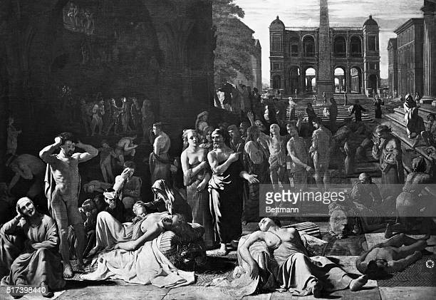 Painting by Nicolas Poussin entitled The Athenian Plague