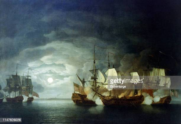 A painting by Thomas Mitchell recalling the battle between the Bonhomme Richard and HMS Serapis on September 23rd 1779 Painting by Thomas Mitchell...